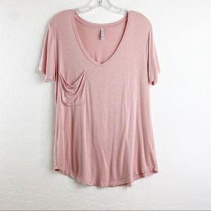 Z Supply Blush Pink  oversized pocket tee L
